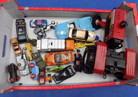 A selection of mixed die cast and model vehicles; including Corgi, Matchbox and Burago