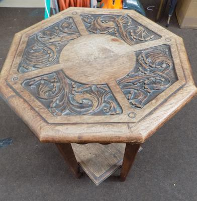 Small carved oak table