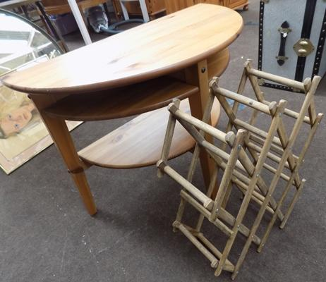 Pine semi circle table and wine rack