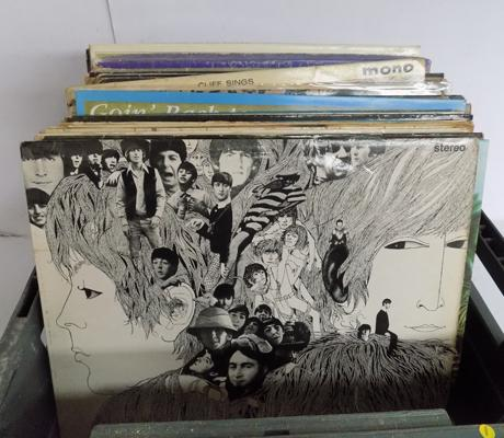 A collection of vinyl LP records; including The Beatles