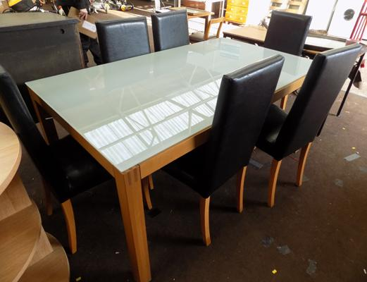 High quality dining table & 6 chairs-glass topped with storage drawer