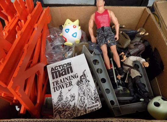 A box of mixed toys and accessories; including Action Man, LOTR, The Nightmare Before Christmas and Pokemon