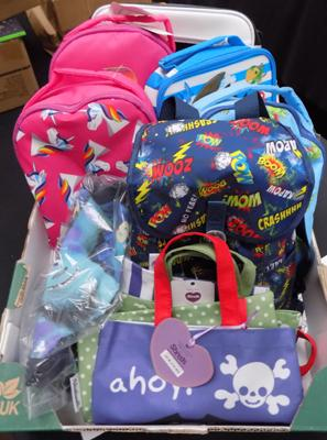 Box of new kids bags and lunch boxes