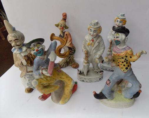 Six vintage style ceramic clowns; approximate height nine inches