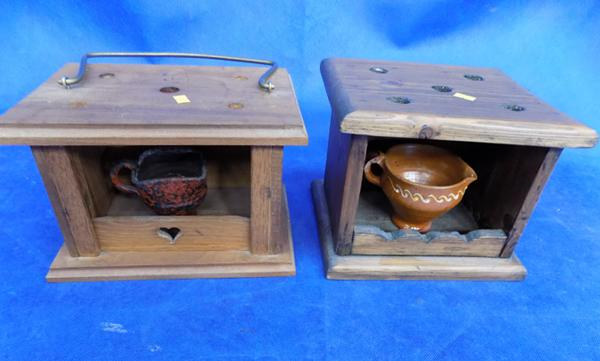 Two wooden candle holders