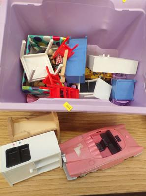 Dolls house furniture with dolls & diecast cars