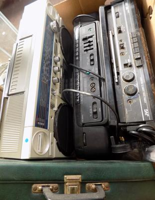 3x Stereo radio cassette recorders (Sharp, JVC & Sanyo) inc a cassette tape box