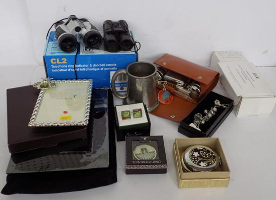 A selection of mixed items; including binoculars and gentlemans grooming set
