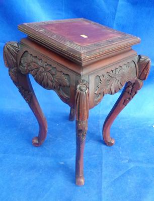 Ornate square wooden side table