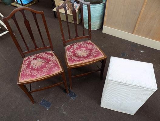 Vintage chairs and vintage wash basket