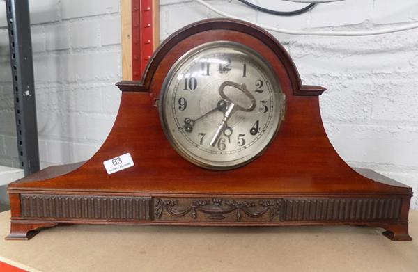 Antique style mahogany cased mantle clock