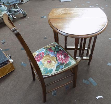 Oak drop leaf table & re-upholstered chair