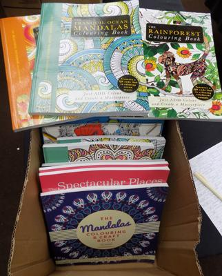 Box of colouring books - mainly adult