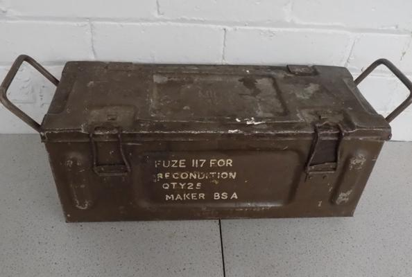 A metal military style, ammunition box