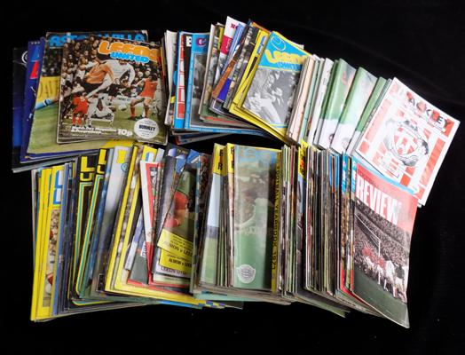 A collection of approximately 150 football programs