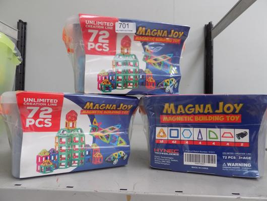 Three sets of 72 piece magnetic sets, retail £24.99 each