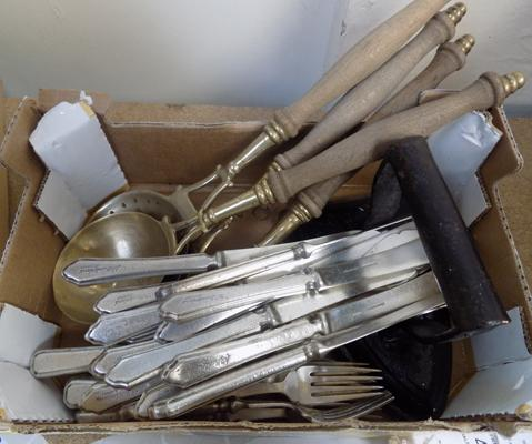 A box of mixed items; including brass servers and EPNS fish knives