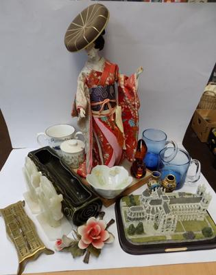 A selection of mixed items; including Japanese figure, onyx bookends and model of Westminster Abbey