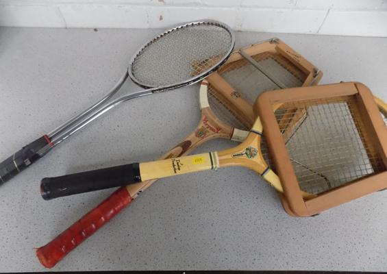 Assorted vintage tennis rackets