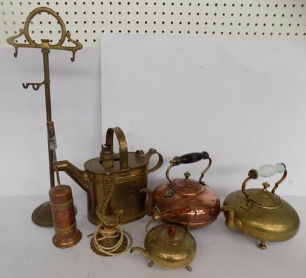 A selection of mixed items; including copper and brass