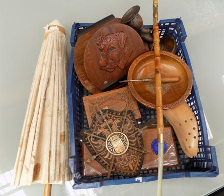 A box of mixed items; including treen and a parasol