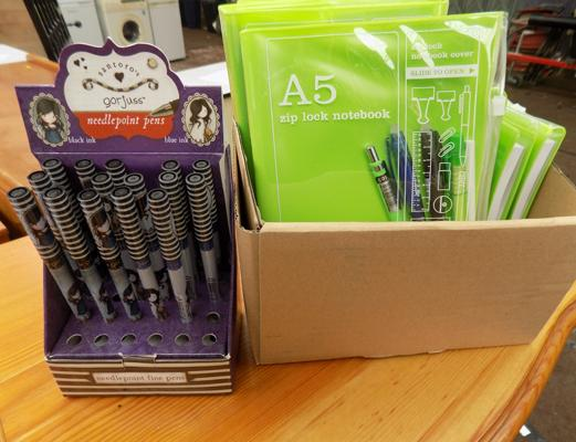 A selection of stationary and pens