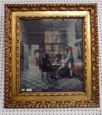 A gilt framed print titled; 'The card players in the sun room' by Peter De Hooch