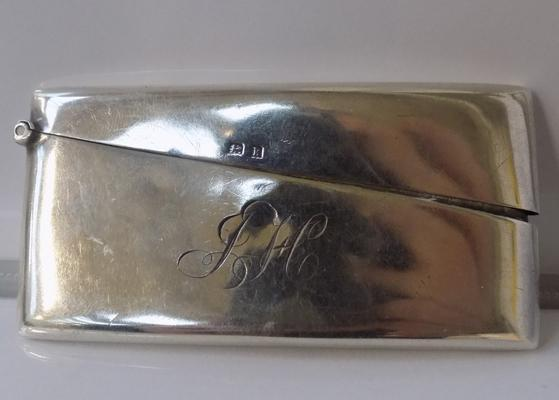 Solid silver card /match case, three inches long - hallmarked Birmingham 1909