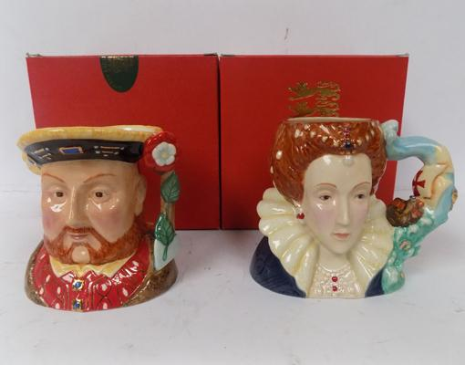 Two boxed Kings & Queens collection by NPR, china Toby jugs with certificates