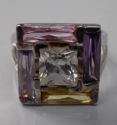 Vintage square multi gemstone set ring