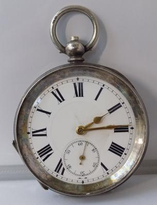 Silver cased antique gent's pocket watch, no glass, key wound