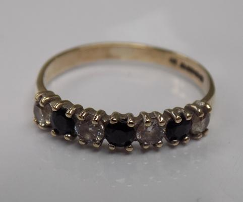 Vintage 9ct gold sapphire & clear stone ring, approx. size L