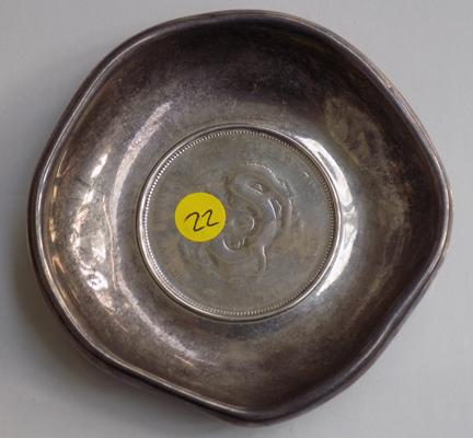 Rare Chinese Hu-Peh province 7 mace & 2 Candareens silver coin dish