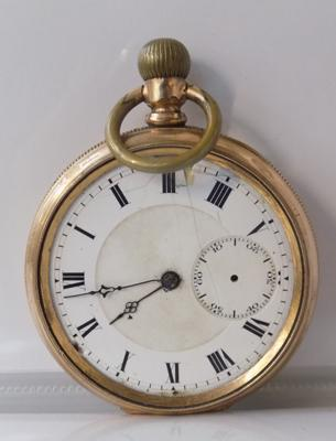 Antique 10 carat gold plated pocket watch, stamped in case, Star Watch Comp. USA