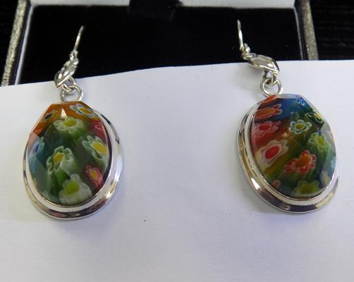 Pair of silver and Millefiori earrings