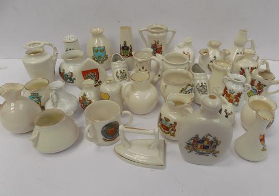 Tray of 34 crested ware items incl; Shelley and Aynsley