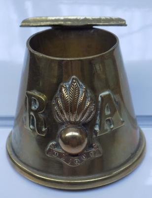 Vintage solid brass 'Royal Artillery' ink well