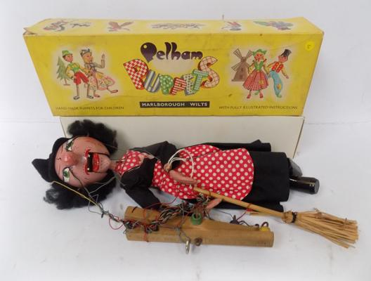 Vintage Peckham puppet, boxed - 'The Witch'