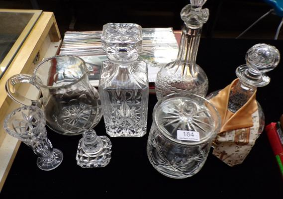 Selection of crystal decanters and others (1 damaged)