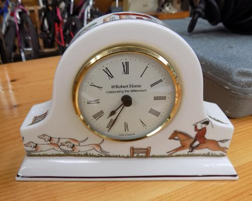 Mantle clock with Wedgwood hunting scenes