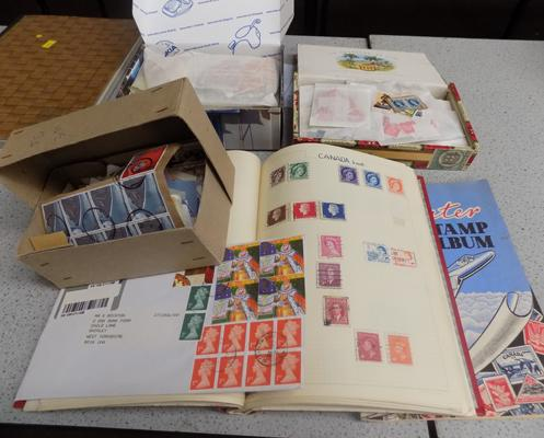 Job lot of stamp albums and 2 boxes of stamps