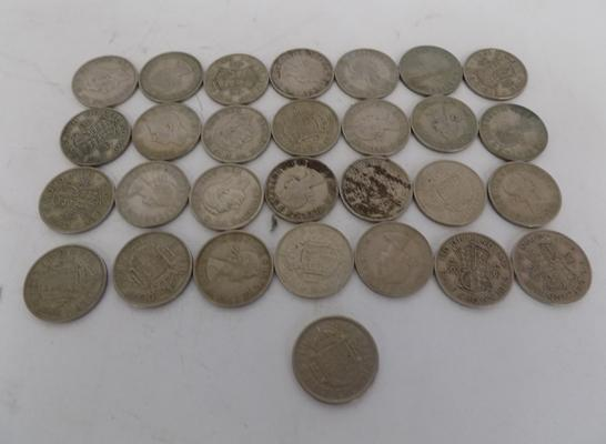 Selection of old half crown coins (29 coins)