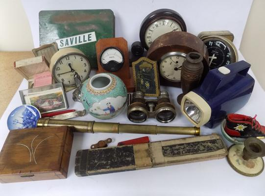 Collection of collectables, incl. antique opera glasses, brass telescope, mantle clocks etc...