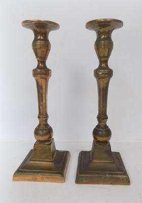 Pair of vintage copper candlesticks, approx. 10 inches