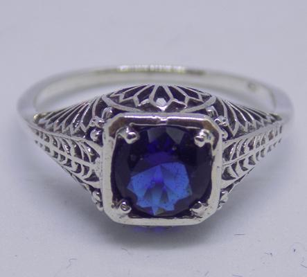 925 silver filigree set ring blue sapphire crystal - size L