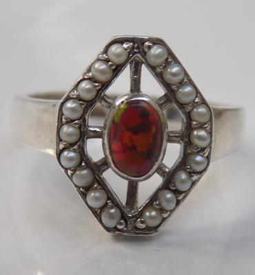 Art Deco style red opal seed pearl ring