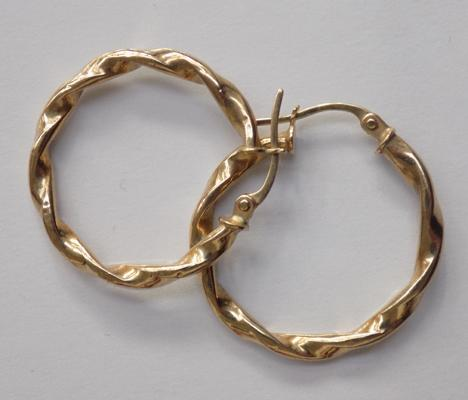 Vintage 9ct gold hoop twist earrings