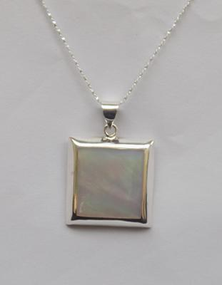 Silver and mother of pearl pendant on silver chain