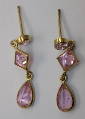 9ct gold pink topaz drop earrings