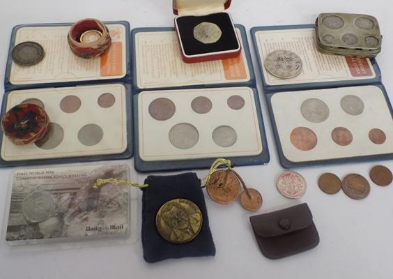 Box of collectables including coins